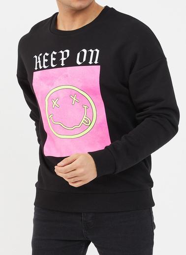 XHAN Siyah Baskılı Yumuşak Dokulu Sweatshirt 1Kxe8-44473-02 Siyah